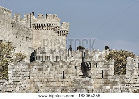 Bastion of the medieval Castle of the Knights in Rhodes