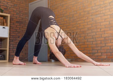Young Caucasian woman practicing yoga doing downward facing dog position.