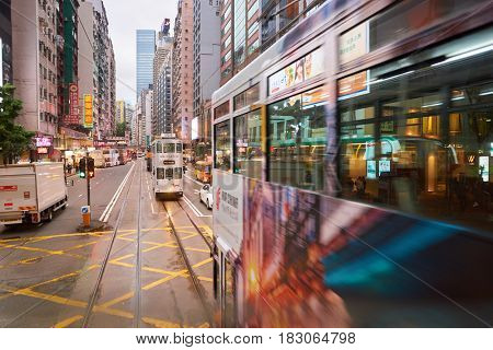 HONG KONG - CIRCA NOVEMBER, 2016: view from upper deck of double-decker tramway. The tram is the cheapest mode of public transport on Hong Kong island