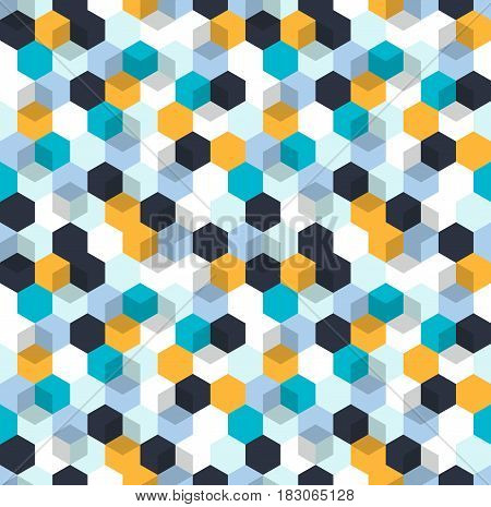 Honeycomb vector background. Seamless pattern with colored hexagons and cubes. Geometric texture, ornament of blue, white and yellow color for business presentation backdrop.