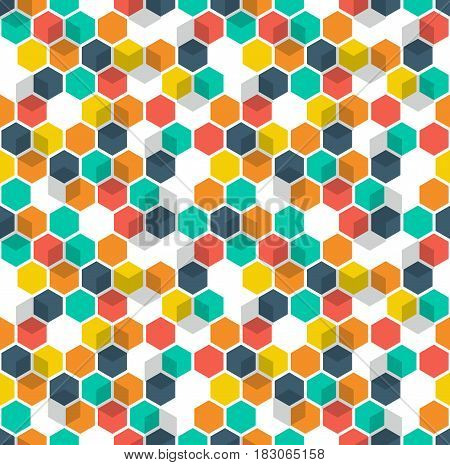 Honeycomb vector background. Seamless pattern with colored hexagons and cubes. Geometric texture, ornament of blue, red, green, white and yellow color for business presentation backdrop.