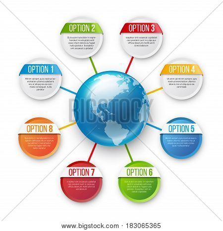 Infographics flower style chart menu with 8 round options ang globe in center, colorful bright design, vector template