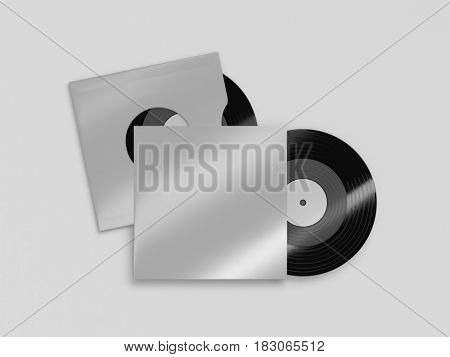 Two vinyl records with a cases mockup on white background. 3d rendering.