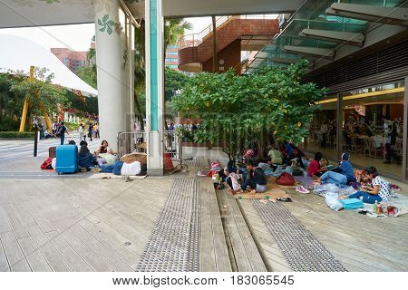 HONG KONG - CIRCA NOVEMBER, 2016: people take a rest at New Town Plaza shopping mall