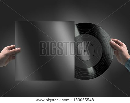Man holding blank vinyl record in hands, on black background. 3d rendering.