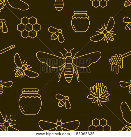 Beekeeping, bee seamless pattern yellow and black color, apiculture vector illustration. Apiary thin line icons - honeybee, honeycombs, barrel. Cute repeated texture for honey processing business.