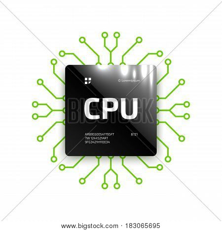 Glossy black chip CPU. Microprocessor for processing data arrays. Binary information processing. CPU web icon. A computer chip with contacts of an electronic circuit board. Vector illustration