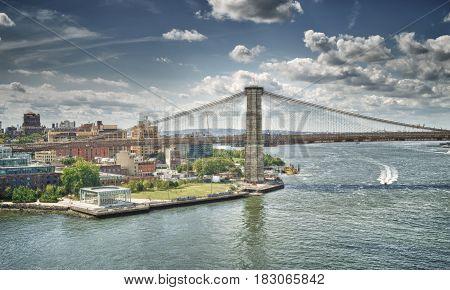 Brooklyn Bridge at sunny day - HDR image.
