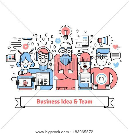 Business team gathered around leader with creative idea. Designer, web developer, pr and marketing specialists teamwork. Thin line art icons collage. Linear background illustration.