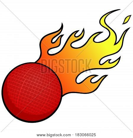 A vector illustration of a blazing Dodge Ball.