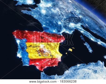Spain With Embedded Flag From Space