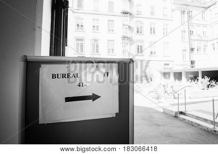 STRASBOURG FRANCE - APR 23 2017: Bureau de Vote sign Voting Section open for the 2017 French presidential elections posted outside a polling station