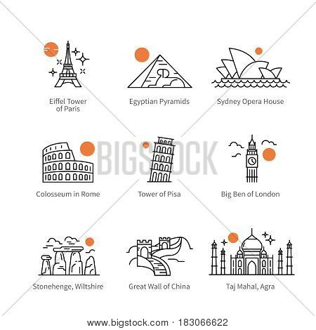 City travel landmarks, tourist attraction in various countries of Europe, Asia and Africa. Thin black line art icons with flat design elements. Modern linear style illustrations isolated on white.