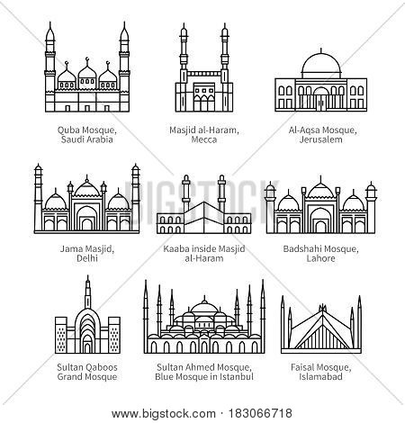 Famous mosques and Islam's holiest places. City travel landmarks. Thin black line art icons with flat design elements. Modern linear style illustrations isolated on white.