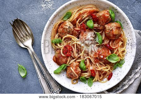 Spaghetti With Meatballs In Tomato Sauce.top View.