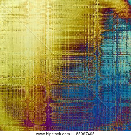 Retro vintage style background or faded texture with different color patterns: yellow (beige); brown; blue; red (orange); purple (violet); cyan