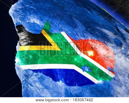 South Africa With Embedded Flag From Space