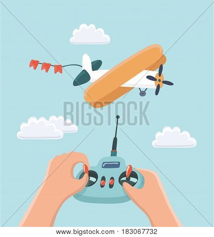 Vector cartoon Illustration RC plane and radio remote control controled by kids hands. Aeromodelling workshop.