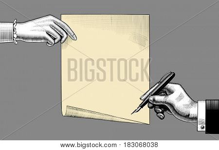 Woman's hand holding a paper sheet and man's hand with a pen. Vintage engraving stylized drawing