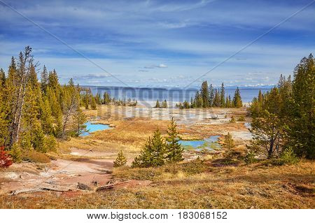 Autumn Landscape With Hot Springs And Geysers In Yellowstone National Park.