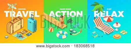 Summer Vacation Activities Isometric Accessories Travel Action Relax Fun isolated vector illustrations