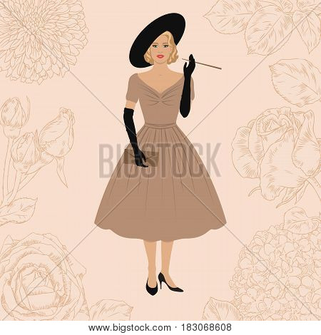 Elegant woman dressed in New look style. 1950s fashion. Smoking Lady. Floral background. Retro hollywood style.