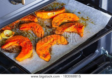 Pumpkin roasted in the oven with spices