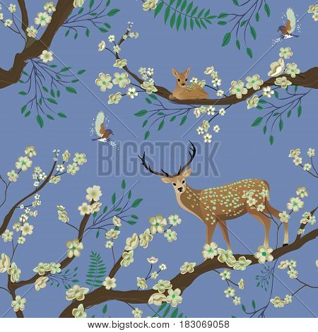 Seamless background of Sakura blossom or Japanese flowering. Flying birds and Sika deer staing on tree brunch. Traditional Asian retro nature pattern. Vector illustration