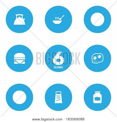 Set Of 6 Kitchen Icons Set.Collection Of Teapot, Kitchen Rasp, Broth And Other Elements.