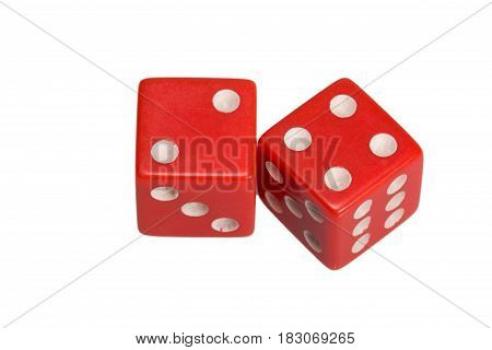 Two dice showing two and four, on white background.