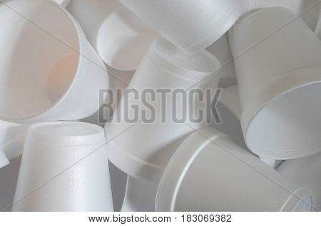 An abstract image of several Styrofoam cups.