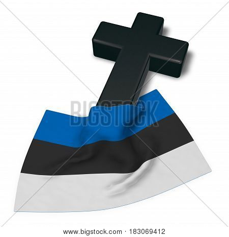 christian cross and flag of estonia - 3d rendering