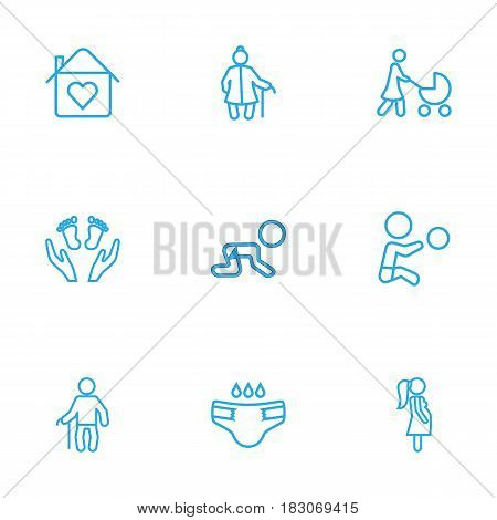 Set Of 9 Family Outline Icons Set.Collection Of Boy, Grandfather, Grangmother Elements.