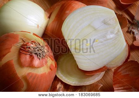 A close up image of a chopped and peeled white onion.