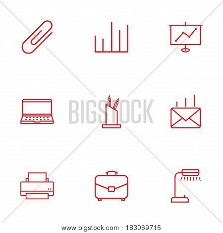 Set Of 9 Service Outline Icons Set.Collection Of Show, Fastener Paper, Pen Storage And Other Elements.