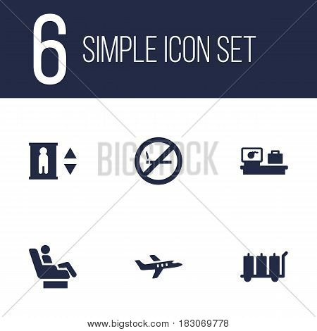 Set Of 6 Aircraft Icons Set.Collection Of Forbidden, Aircraft, Carriage And Other Elements.