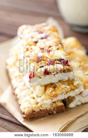 Delicious granola bars with oat honey and yogurt healthy food for breakfast. Homemade cereal snacks for healthy eating