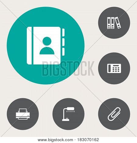 Set Of 6 Work Icons Set.Collection Of File Folder, Address Book, Telephone And Other Elements.