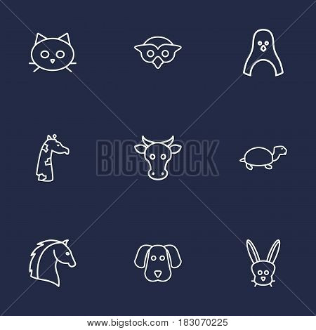 Set Of 9 Brute Outline Icons Set.Collection Of Dog, Giraffe, Cow And Other Elements.