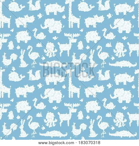Animal clouds silhouette pattern vector illustration. Abstract art cartoon environment natural ornament adorable bright fluffy mammal seamless pattern