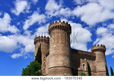 Ancient medieval and renaissance fortress Rocca Pia in the center of Tivoli near Rome