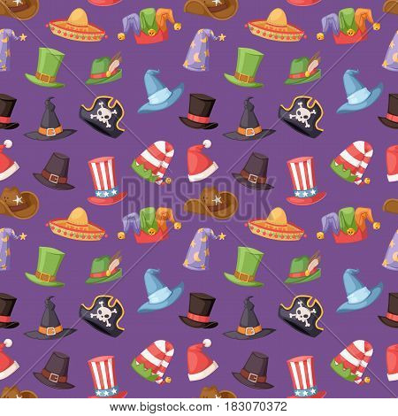 Hats of various type and colors. Different funny caps for party, holidays and masquerade. Traditional headwear icon cartoon clothes accessory seamless pattern