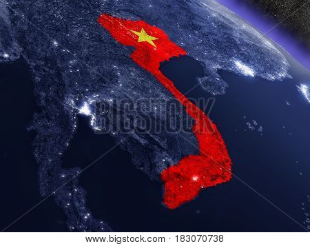 Vietnam With Embedded Flag From Space
