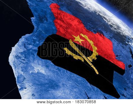 Angola With Embedded Flag From Space