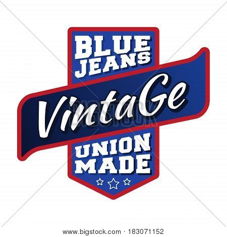 T-shirt print design. Blue jeans vintage stamp. Printing and badge applique label t-shirts, jeans, casual wear. Vector illustration.