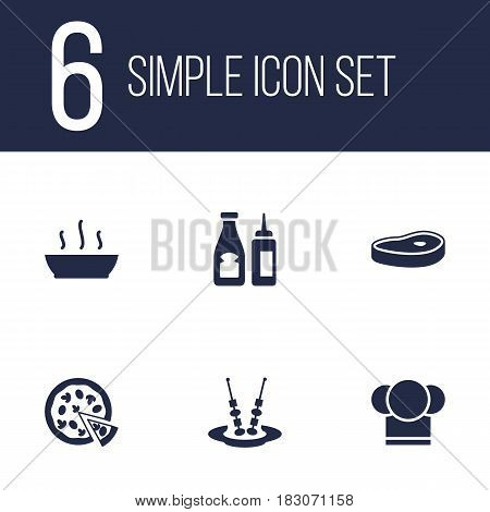 Set Of 6 Cafe Icons Set.Collection Of Broth, Meat, Catsup And Other Elements.