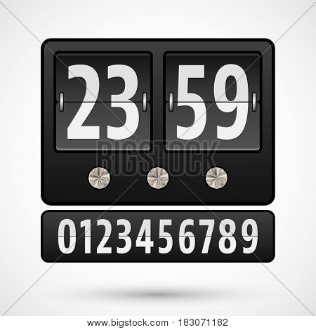 Flip clock with numbers. Countdown timer template. Vector illustration.