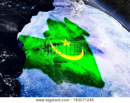 Mauritania With Embedded Flag From Space