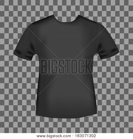 Black round neck t-shirt template. Blank front view t shirt mockup design. Vector illustration.