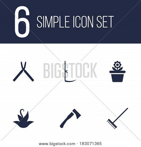 Set Of 6 Horticulture Icons Set.Collection Of Plant, Axe, Scissors And Other Elements.